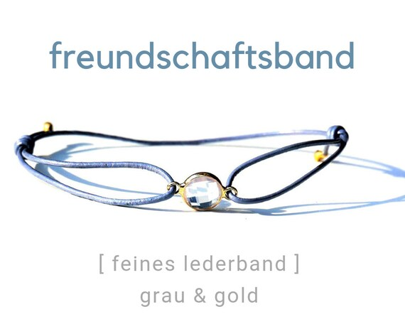 Bracelet | Jewelry Band | Grey Leather | Crystal Glass Connectors | Gilded Transparent | Sliding knots