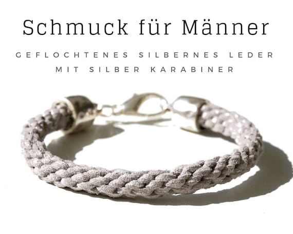 Men's Bracelets | Braided Leather | Silver | Large Carabiner | Leather Bracelet | Braided Bracelet | Men's Jewelry | Men's Bracelet | Silver Leather