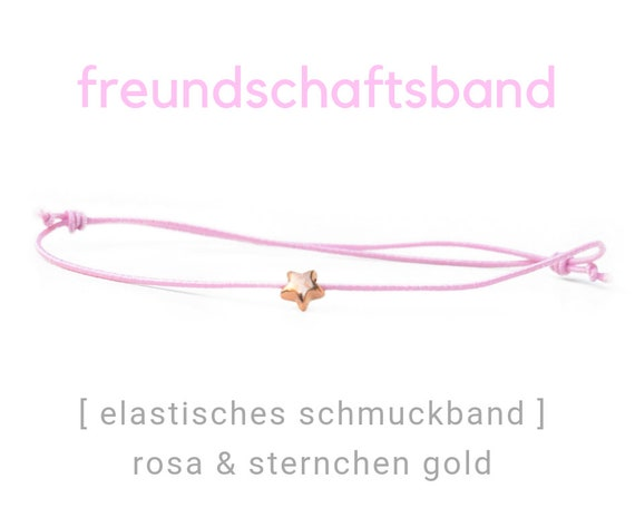 Elastic Friendship Band | Jewelry Band | Pink & Gold | Gilded asterisk | Rubber | Sliding knots | Wish Band | Star