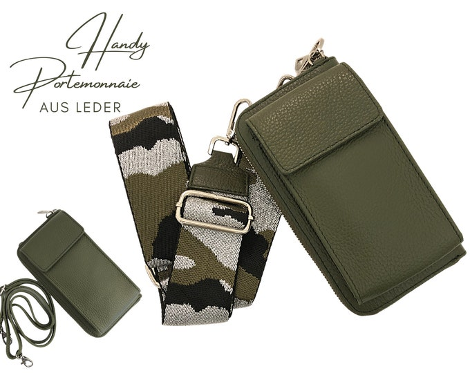 Khaki Mobile Phone Wallet     Wallet   wallet Leather Capes Mobile Phone Case   narrow or wide belt in XXL   Camouflage strap silver