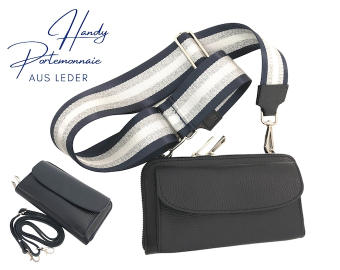 Dark blue mobile phone wallet     Wallet   wallet Leather Capes Mobile Phone Case   narrow or XXL strap   Striped strap blue white silver
