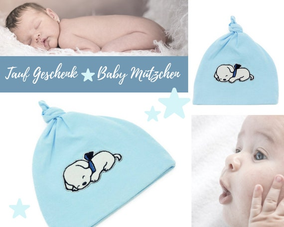 Light blue baby hat with dogs application | Tauf Gift | Cotton | First Hat | Birth Baby Baby Party Embroidery | Embroidery