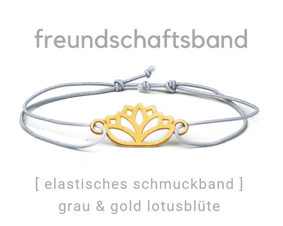 Friendship Band | Jewelry Band | Lotus Blossom | Gold Plated | Grey | Elastic | Rubber | Sliding knots | Friendship Bracelet | Wish Band