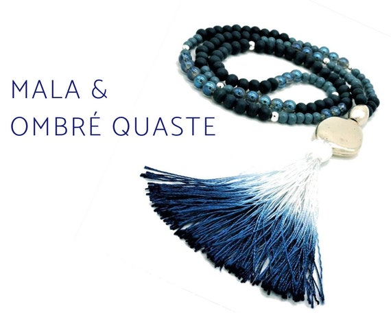 Blue Mala necklace with long ombre tassel | Boho Style | Prayer Chain | Yoga | 108 |  Silver-Plated Large pearl