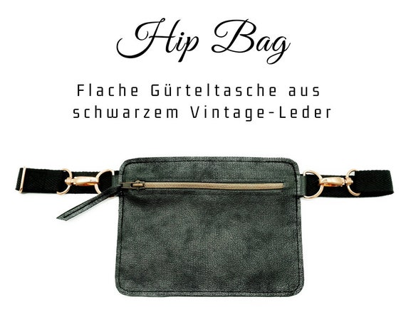 Black hip pocket | Flat vintage leather belt bag with metallic effect | Belly ash | Cross Body Leather Bag | Hip Bag Belt