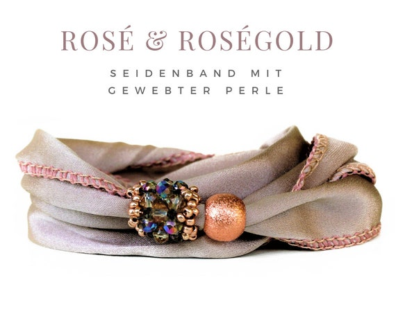 Roségoldente silk satin bracelet with woven pearl | Magnetic closure | Silk | Rosé | Pearl weaving | Webperle | Wrap bracelet | Silk ribbon