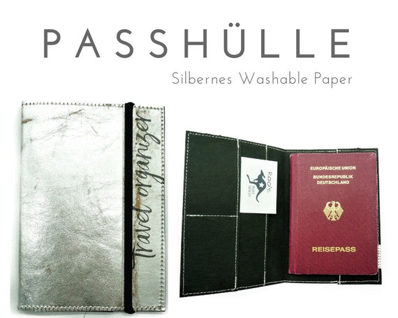 Silver pass sleeve from Washable Paper | Travel case for passport, ID, driver's license, credit card business card | Travel Organizer
