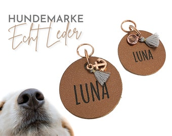 Rose gold dog tag | Dog trailer | Dog Jewelry Leather | Name | personalized ID brand | Leather Tag Engraved Laser Font