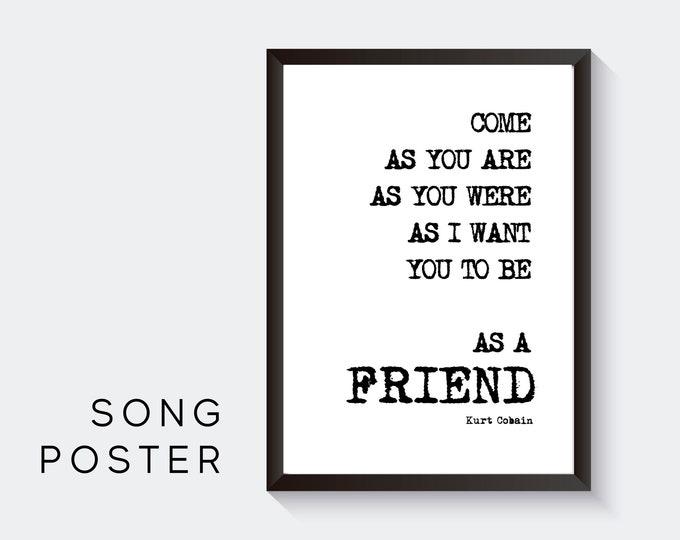 Lyrics Design Poster | Kurt Cobain | Nirvana | Digital Print | Typo Image | Gift Music Fan | Valentine's Day | Friend | Cult | Nevermind