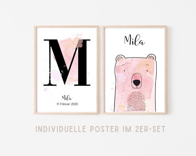 Birth Poster in Set of 2   Baptism Gift   Customized Print   Letter   Watercolor   Saying   Animal image   Picture for the baby nursery