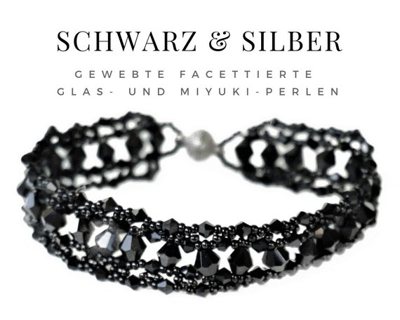 Woven bracelet in black from faceted glass beads   Jet beads   Magnet   Pearl bracelet   Black lace   Art Deco 20s Twenties