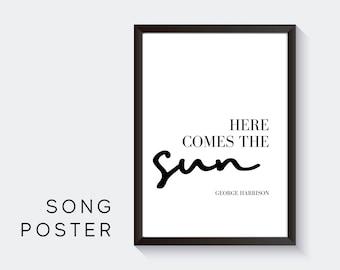 Lyrics Design Poster | Here comes the sun | George Harrison | Digital Print | Typo Image | Art print | Gift Music Fan | Beatles| Cult