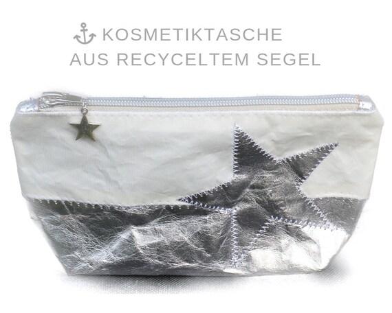Cosmetic Bag | Sails & Silver Washable paper | Star | Make up bag Silver white | upcycling | Makeup Bag | Sailing bag