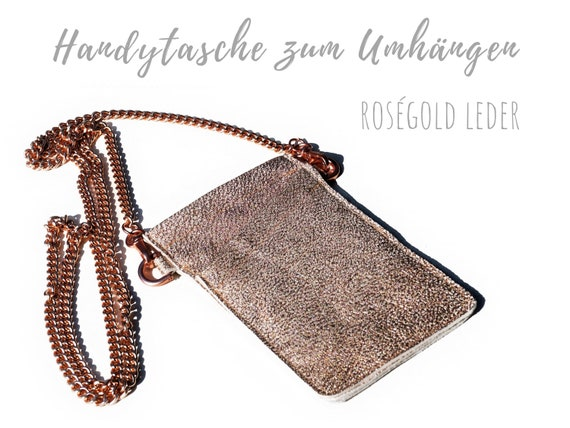 Crossbody phone case | Mobile phone handheld bag | Breast bag | Rose gold | Chain | Real leather sleeve | Cross Body Bag | Leather bag phone chain