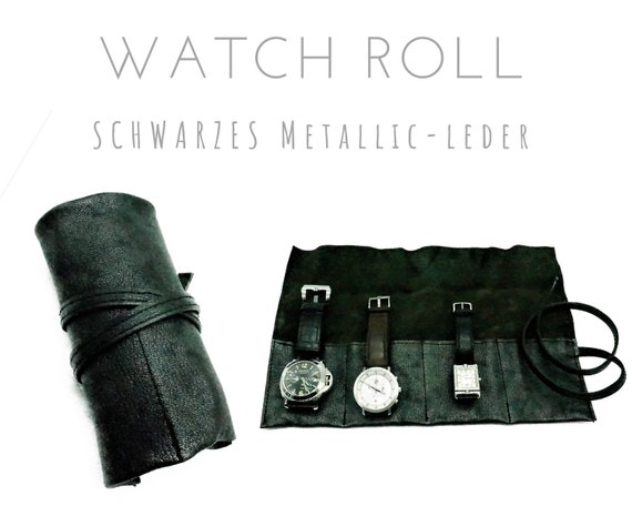 Black 4er Watch Roll | Metallic leather | Gift Men | Watches Roll 4 Watches | Travel Wristwatches storage | Watch Roll | Leather Roll