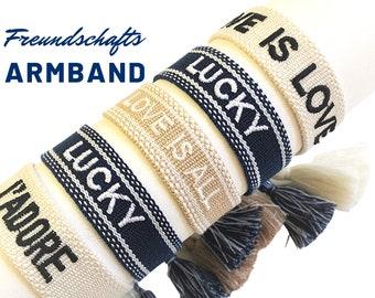 Friendship bracelet | Canvas Webband | knotted woven embroidered bracelet | Tassels | Web bracelet | Boho | Lettering | blue | Beige