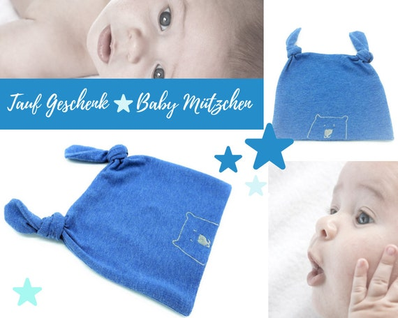 Blue Baby Hats   Embroidered Bear   2 knots   Elastic Cotton   First Hat   Baby Gift Baptism Birth   Beanie