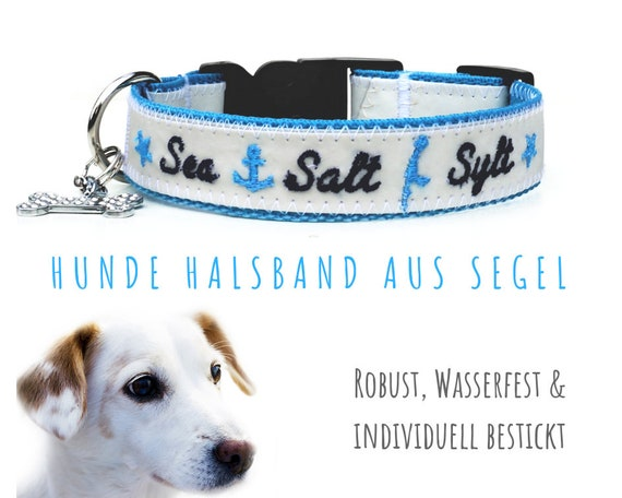 Dog collar for Sylt Fans | 2.5 cm wide | 33-36 cm | Turquoise belt ribbon m. Sail | Embroidery Sea, Salt, Sylt Sailing Collar Rhinestone Bones
