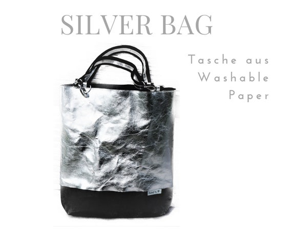 Silver Bag from Washable Paper | Shoulder bag | Large SnapPap Bag | silver with black
