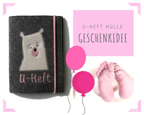 Individual U-yeast case in felt | Application Bear | Polar Bear | Embroidery | Grey with pink | Investigation booklet | Envelope | Felt case
