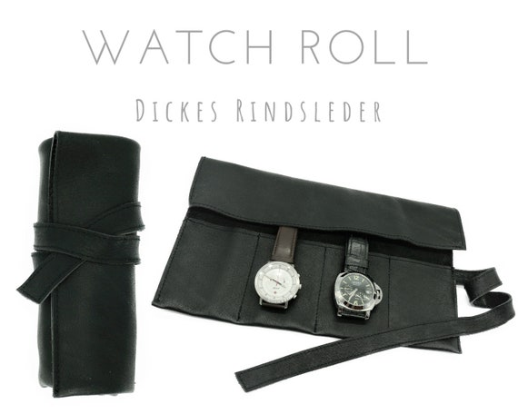 Black 4-seer Watch Roll of thick Cowhide | Gift Men | Watch bag | Travel Wristwatches Case | Watch Roll | Leather Roll