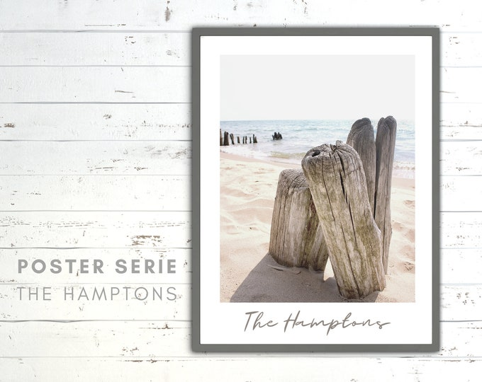 The Hamptons Poster | Sea | Beach Life | maritim | Pictures series | Wall Decoration | Coastal Style | Coast | Wood | bright picture