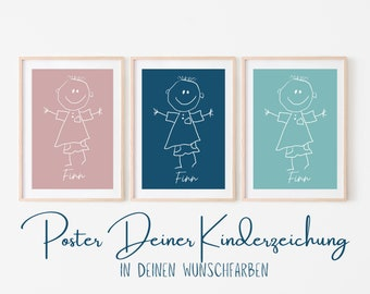 Personalized children's image | Children's drawing as a work of art | Your children's picture as a poster | Background in desired color