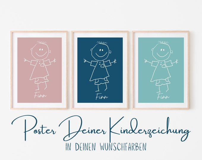 Personalized children's image   Children's drawing as a work of art   Your children's picture as a poster   Background in desired color