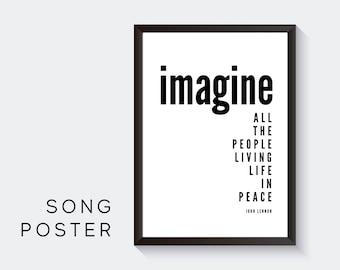Lyrics Design Poster | Imagine | John Lennon | Digital Print | Typo Image | Art print | Gift Music Fan | Cult song | Peace Frieden