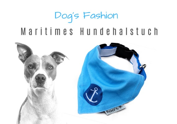 Maritime dog neckerchief with anchor | turquoise with dark blue | Cotton Dog Bandana | is attached to the collar