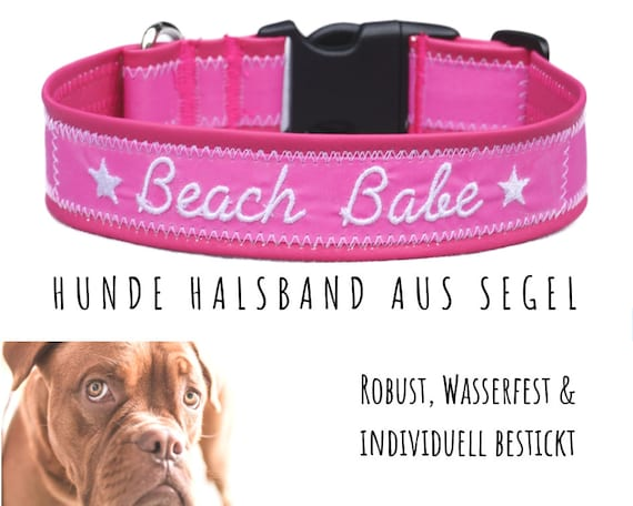 Pink sailcloth Dog Collar | BEACH BABE | Embroidery | Upcycling | 50-55 cm | 4 cm width