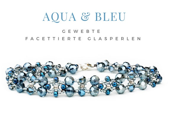 Woven Bracelet | Blue Silver | Pearls | Faceted Glass Beads | Pearl Bracelet | Carabiner Lock | Beadwork | Bead Weaving