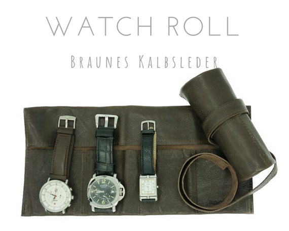 Brown 4-Series Watch Roll in Calf Brown | Gift for Men | Wristwatches Roll 4 Watches | Travel Watches Case | Watch Roll Leather