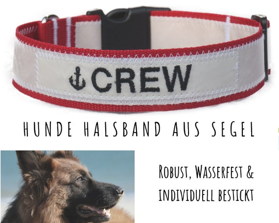 "Red dog collar from sail | Black embroidery ""CREW"" 