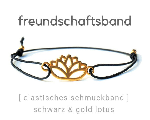 Friendship Band | Jewelry Band | Lotus Blossom | Gold Plated | Black | Elastic | Rubber | Sliding knots | Friendship Bracelet | Wish Band