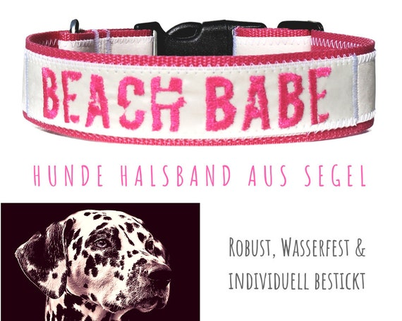 Pinkes Sailing Dog collar | BEACH BABE | Embroidery | Strap band | Half-circumference 45-50 cm | 4 cm wide | Sailing collar | Upcycling