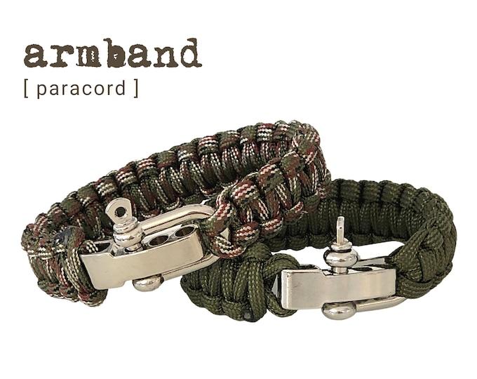 Paracord Bracelet   silver shackle closure   Survivor Style   Outdoor   Men's Bracelet   khaki camouflage
