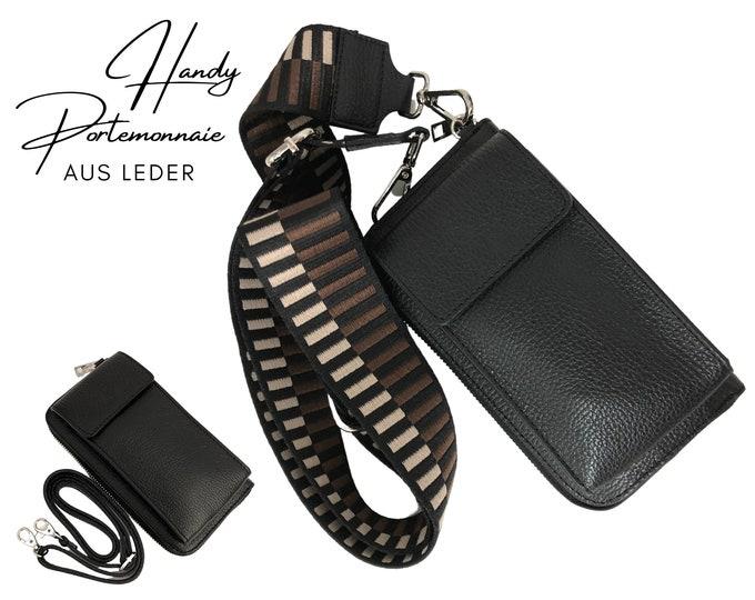 Black mobile phone wallet | | Wallet | wallet Genuine leather | | phone case narrow or XXL strap | black brown patterned strap