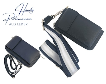 Dark blue mobile phone wallet | Purse | Wallet | Leather capes mobile phone bag | narrow or Leo strap in XXL | striped strap