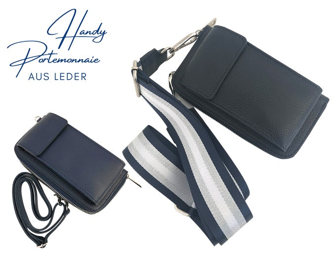 Dark blue mobile phone wallet   Purse   Wallet   Leather capes mobile phone bag   narrow or Leo strap in XXL   striped strap