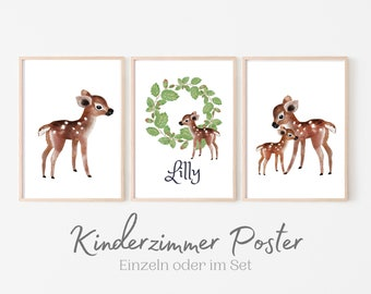 Poster for the nursery | personalized gift baptism birth | Name | Watercolour | Animal Pictures in Set | Deer Bear Fox Raccoon