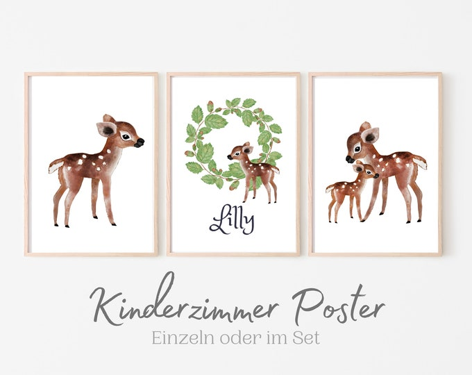 Poster for the nursery   personalized gift baptism birth   Name   Watercolour   Animal Pictures in Set   Deer Bear Fox Raccoon