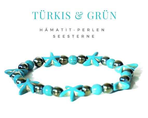 Turquoise Green hematite bracelet with stars | Natural Stone Beads | Acrylic Starfish Beads | Elastic Bead Bracelet