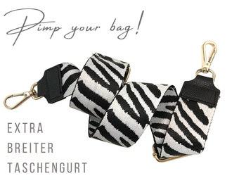 Extra wide strap for handbag | Black and White | 5 cm wide | Crossbody | XXL belt | adjustable | Zebra Pattern | golden carabiners
