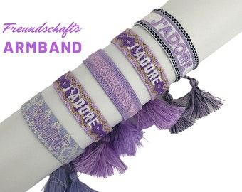 Purple JADORE | LOVE | Friendship bracelet | Web bracelet | Tassels | Pearl bracelet | Ribbon | violet lilac