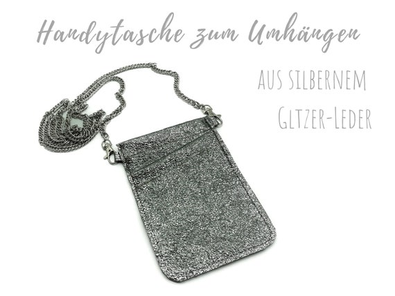 Silver mobile phone bag for cloting | Crossbody phone case | Glitter leather | Mobile phone handheld bag | Cross Body leather sleeve | Mobile phone chain