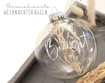 Personalized Christmas ball | Glass | filled | Boho ball | 10 cm diameter | transparent | with name in silver