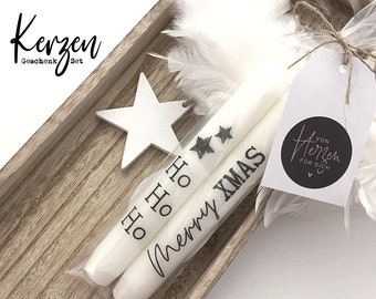 | Christmas candles with message | two stick candles Ho Ho Ho | Merry xmas | black and white | incl. trailer card | Statement Candles