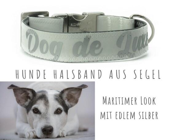 "Sail dog collar ""Dog de Luxe"" | 2.5 cm | Upcycling | Sailing collar | Silver font & silver metal slit"