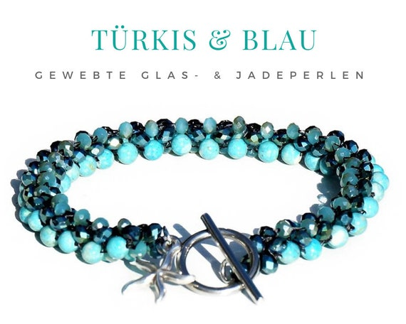 Woven Bracelet | Faceted Glass Beads | Jade Beads | Turquoise Silver | Star Pendant | Toggle Lock